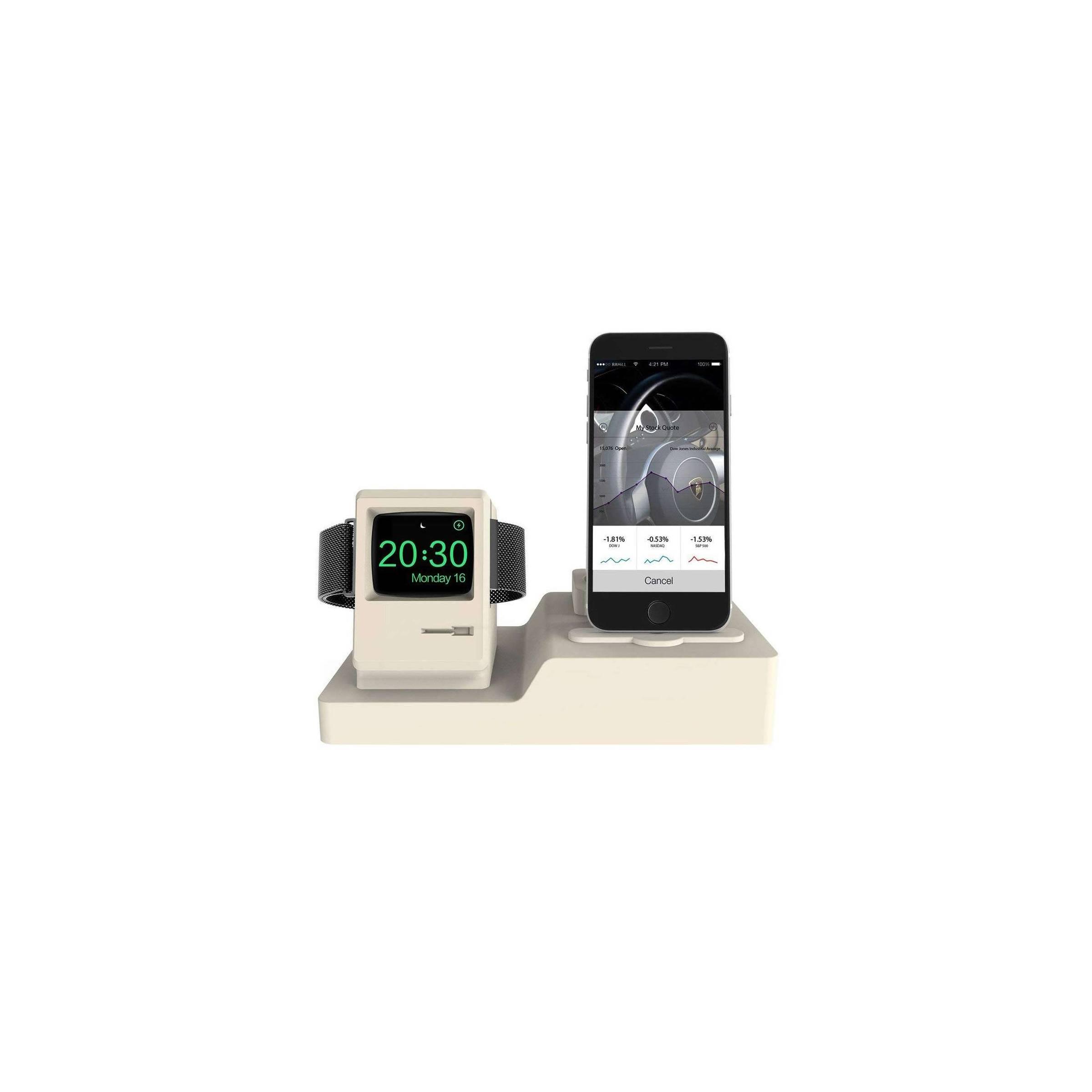 Bilde av 3 I 1 Retro Apple Watch Stander Med Macintosh Look I Grå