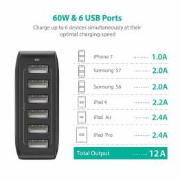 Amber Power 6-port USB hub lader m. 60 i svart