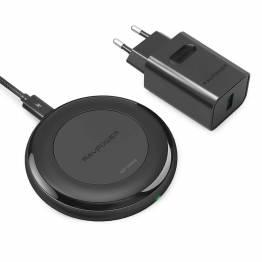 Amber trådløs Qi lader W. 7, 5W rask lading inkl. QC3 USB-lader i svart