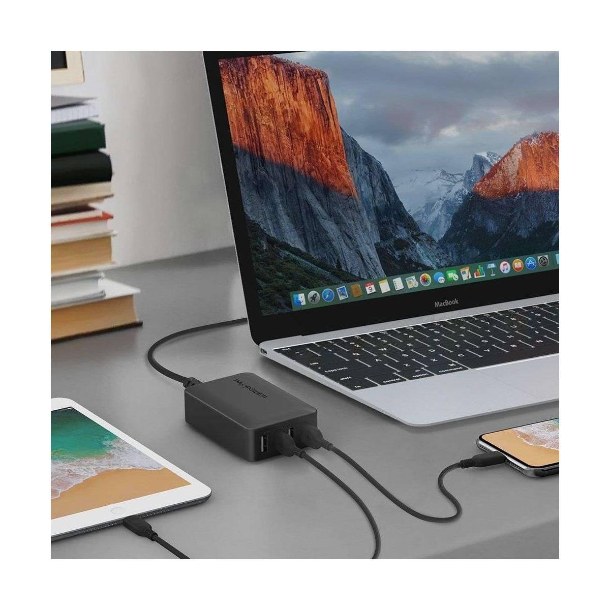 Amber strøm 4 port USB hub lader m. 40W i svart Mackabler