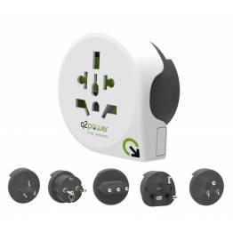 Q2Power QPLUX 5 i 1 Verden/EU til Verden rejse adapter
