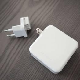 RAVPower 3-port 65W USB-C PD Mac oplader med 2 x USB vægoplader i hvid