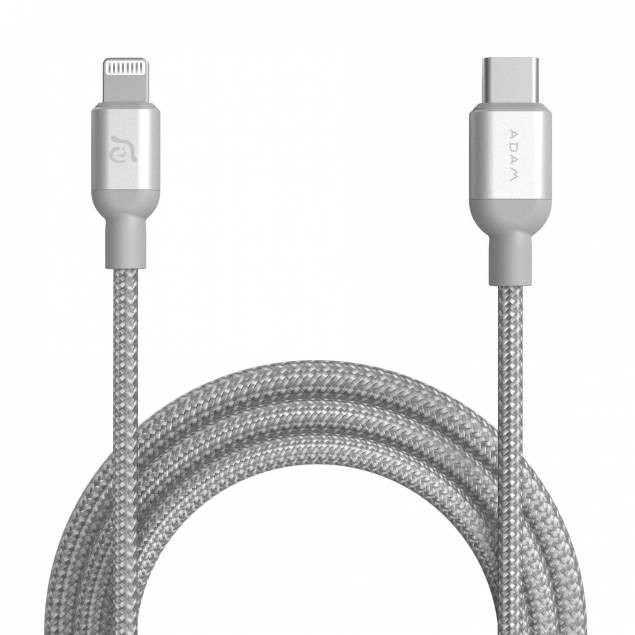 Adam Elements USB-C til Lightning kabel MFi 1, 2m sølv sølv sølv