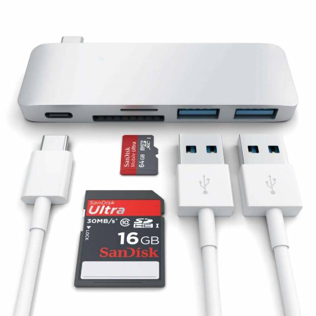 Satechi USB-C pass through USB hub-3-i-1-hub. Kompatibel med nye MacBook, det charge!