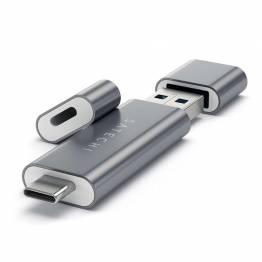 Satechi USB-C og USB 3,0 Micro/SD-kortleser av aluminium