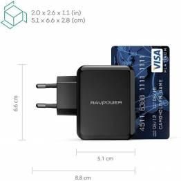 RAVPower 2x USB vegglader 24W svart for iPad og iPhone