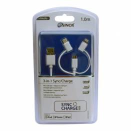 Multi lader kabel lyn, MicroUSB og USB-C i sølv Ugreen