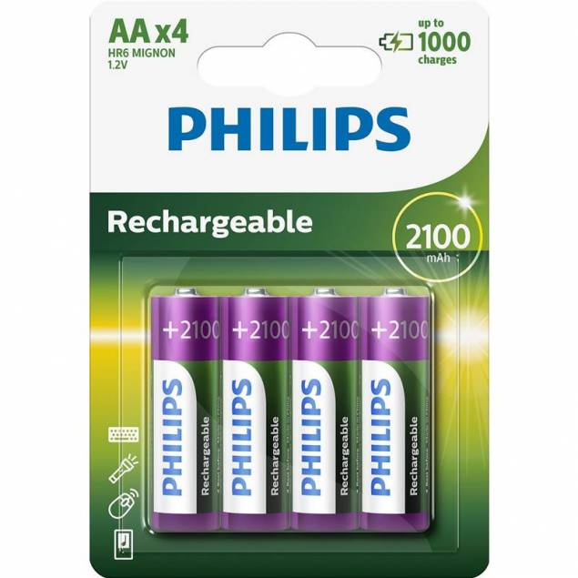 Philips Rechargeable opladelig AA batterier 4stk