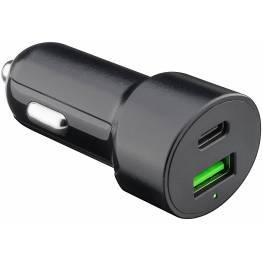 Goobay iPad/iPhone Biloplader 30W USB-C og USB