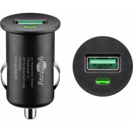 3SIXT Biloplader med USB og USB-c (15W og 12W)