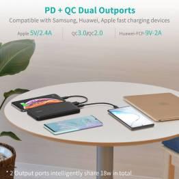 Choetech 10.000 mAh 18W USB-C PD & Quick Charge Powerbank
