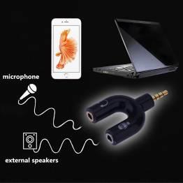Mini Jack TRRS til mikrofon og højtalere delt op