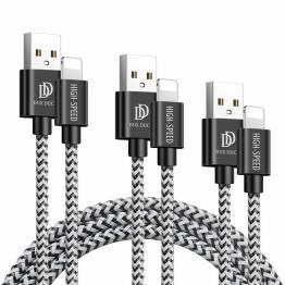DUX DUCIS Tough Lightning Nylon kabel 3 -pakning - 0,25m, 1m og 2m