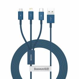 Baseus Superior 3-i-1 USB-kabel for Lightning, MicroUSB og USB-C - blå