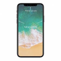 Beskyttende glass for iPhone X med svart ramme