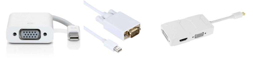 Mini DisplayPort (Thunderbolt) for VGA-adaptere og kabler