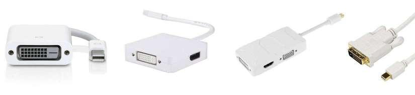 Mini DisplayPort (Thunderbolt) for DVI-adaptere og kabler