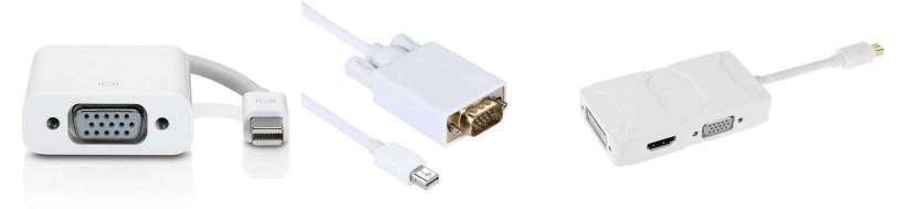 Thunderbolt (Mini DisplayPort) for VGA-adaptere og kabler