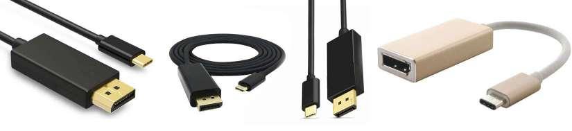USB-C (thunderbolt 3) til Displayport adaptere og kabler